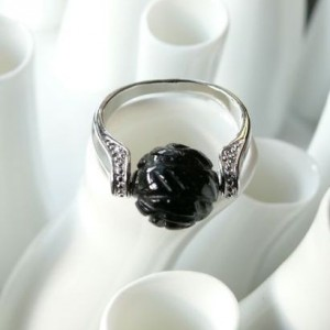Bague art obsidienne