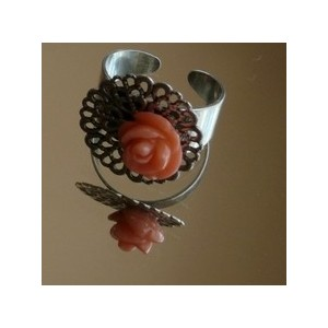 Bague Corail rose rond